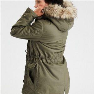 AEO Olive Hooded Faux Fur Parka Jacket Coat